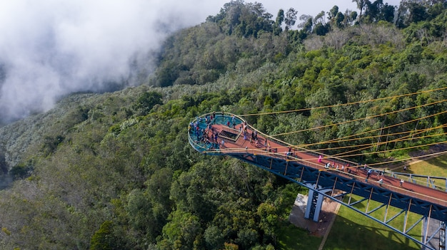 Aerial view of skywalk and view point for watch sea of mist at ai yerweng,betong yala,thailand 2020 , it is very popular now.