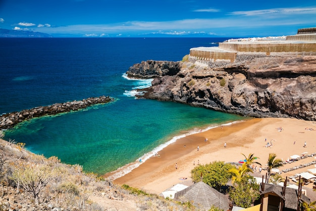 Aerial view of a small abama beach on the west coast of tenerife, canary islands, spain
