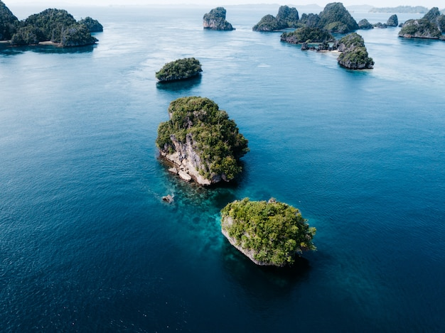 Aerial view of small islands in misool, raja ampat, indonesia