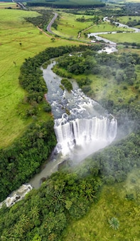 Aerial view of the smoke waterfall located in ponte nova