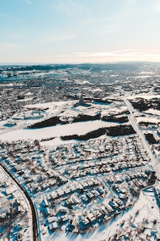 Aerial view of a snowy city
