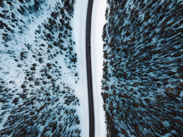 Aerial view of a snowy forest with a road