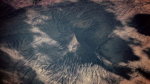Aerial view of snowy mountain