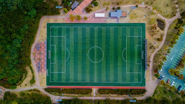 Aerial view of soccer field in south korea