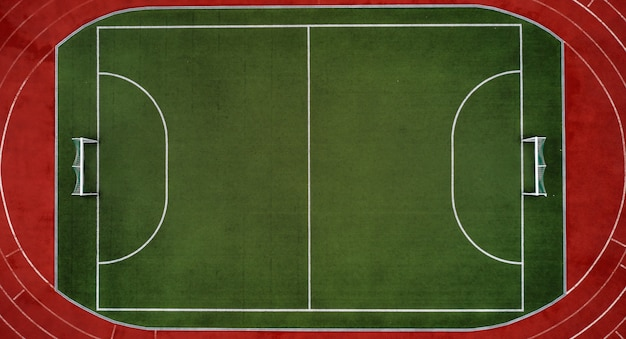 Aerial view of soccer field or sports stadium