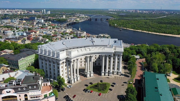 Aerial view of sofia square and mykhailivska square in kiev ukraine