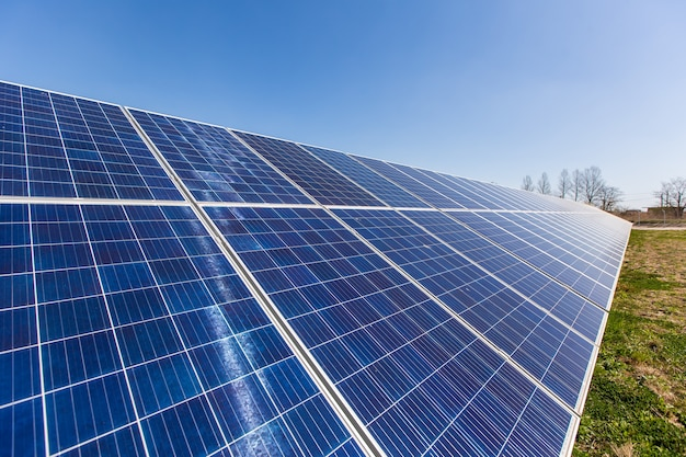 Aerial view of solar panel, photovoltaic, alternative electricity source