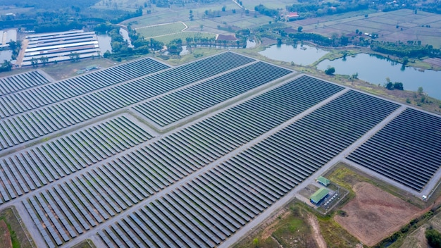 Aerial view of solar panels from drone camera in thailand