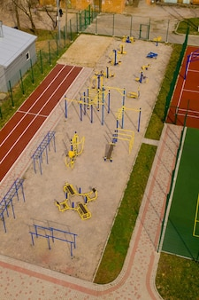 Aerial view of sports ground for children.