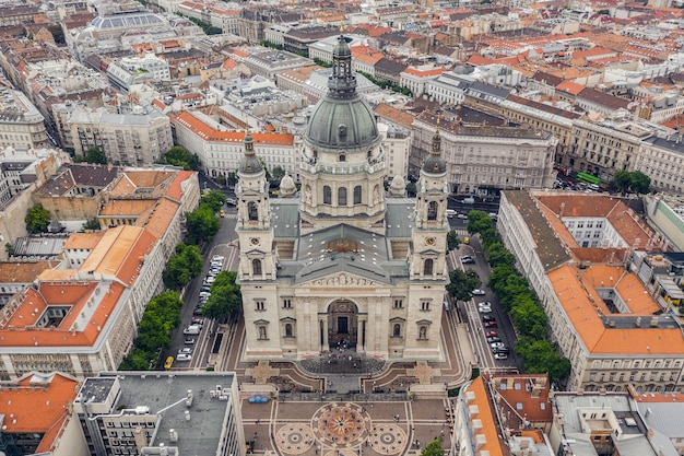 Aerial view of st. stephen's basilica in budapest