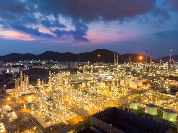 Aerial view of steel pipe oil refinery plant