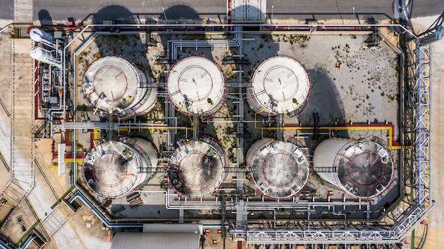 Aerial view storage tank and tanker truck in industrial plant