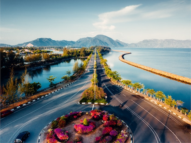Aerial view of straight road in banda aceh