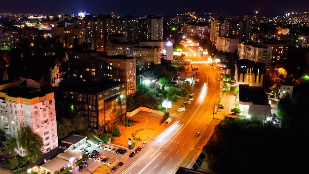 Aerial view of street with cars at night time