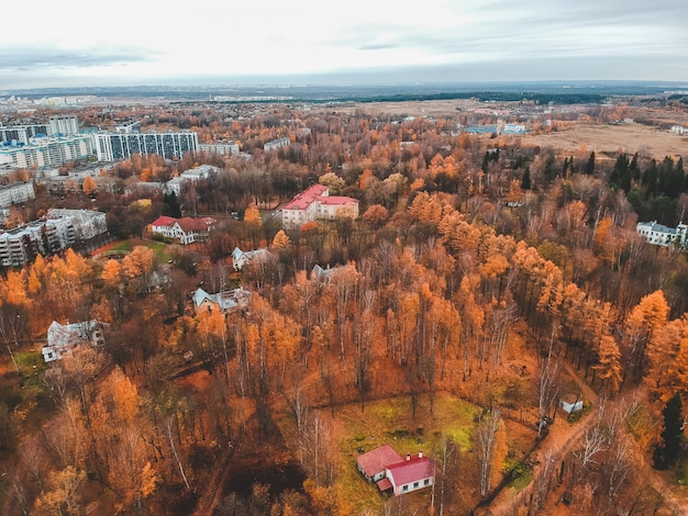 Aerial view of suburban housing in the autumn forest. st. petersburg, russia.