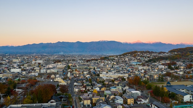 Aerial view sunrise of matsumoto castle in nagano city,japan