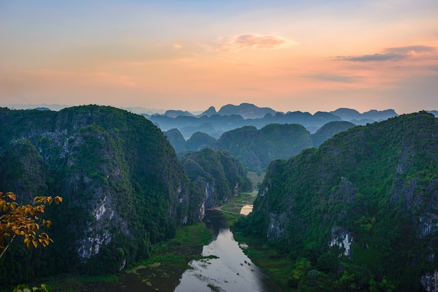 Aerial view at sunset of ninh binh region