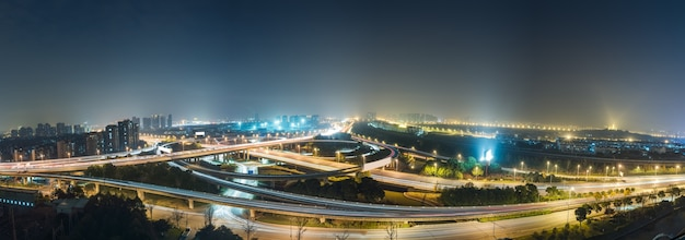 Aerial view of suzhou overpass at night