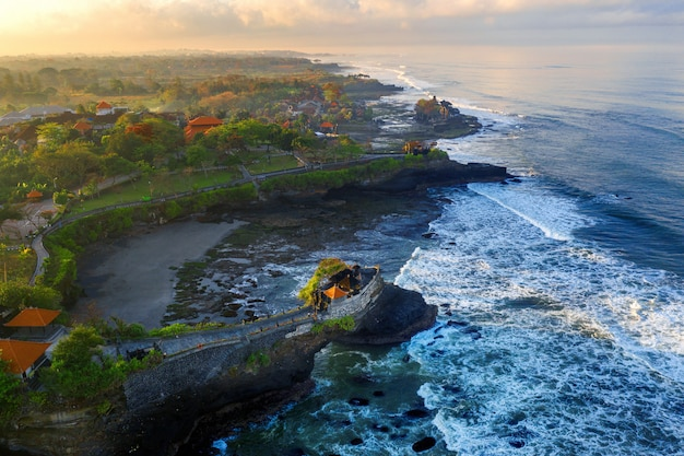 Aerial view of tanah lot temple in bali, indonesia.