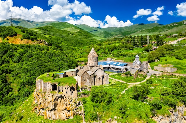 Aerial view of tatev monastery. in armenia