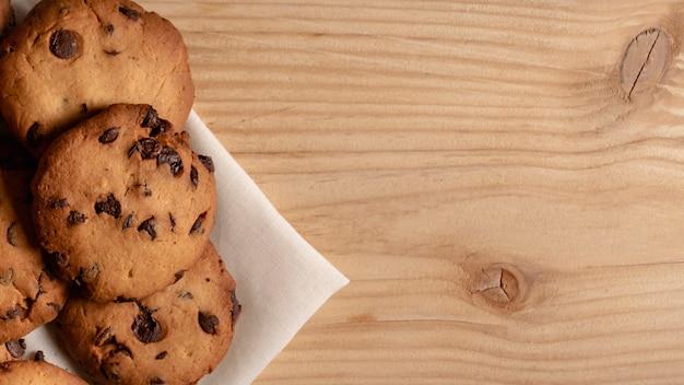 Vista aerea di biscotti da tè