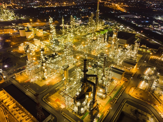 Aerial view thailand oil refinery production at industrial estate thailand.