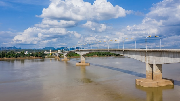 Aerial view third thai lao friendship bridge, mekong river bridge, nakhon phanom,thailand.