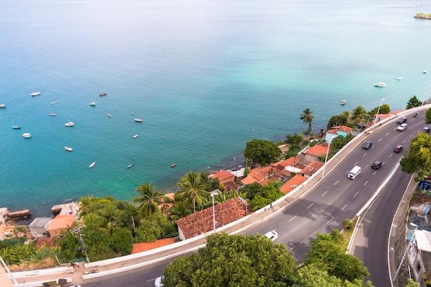 Aerial view of todos os santos bay in salvador bahia brazil.
