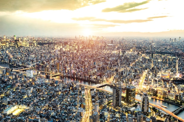 Aerial view of tokyo skyline from above during sunset and blue hour