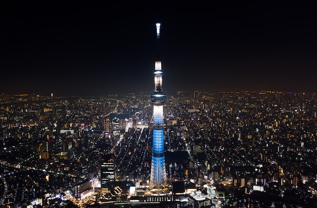 Aerial view of tokyo skytree and japanese landscape in tokyo city at night