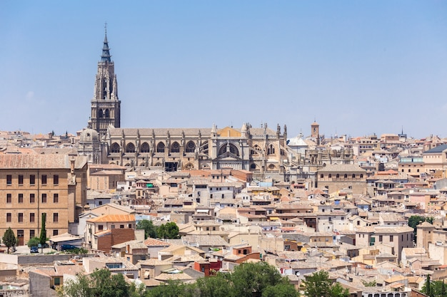 Aerial view of toledo city and alcazar,spain
