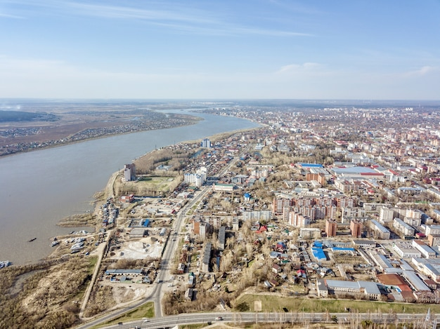 Aerial view of tom river, early spring in siberia, tomsk, russia.