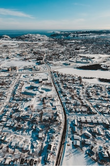 Aerial view of town in winter