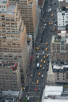 Aerial view of traffic in a street, manhattan, new york city, new york state, usa