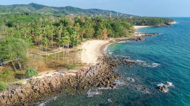 Aerial view of tropical beach from above, sea, sand and palm trees island beach landscape, thailand