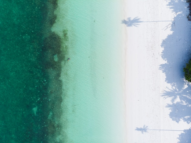 Аэрофотоснимок тропический пляж остров риф карибское море в пасир панджанг, острова кей, индонезия архипелаг молуккские острова