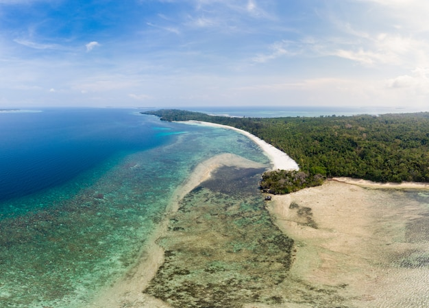 Aerial view tropical beach island reef caribbean sea. indonesia moluccas archipelago, kei islands, banda sea. top travel destination, best diving snorkeling, stunning panorama.