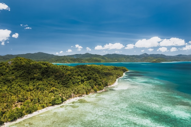 Aerial view of tropical coastline near el nido, palawan, philippines.