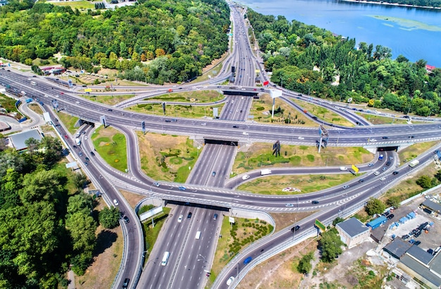 Aerial view of a turbine road interchange in kiev, the capital of ukraine