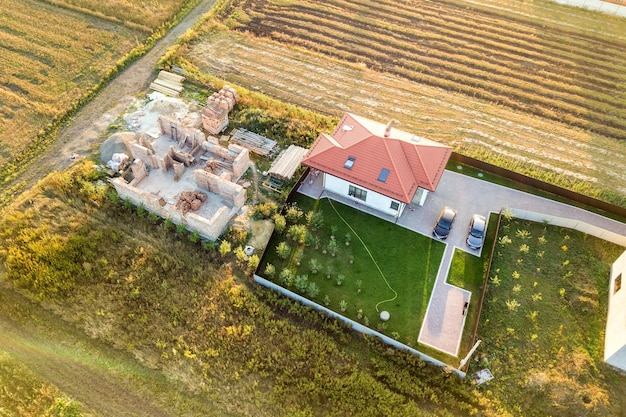 Aerial view of two private houses