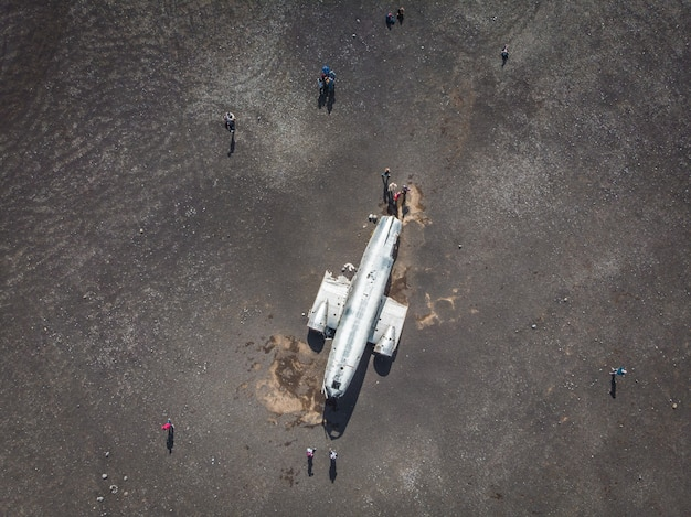 Aerial view of united states navy dc plane wreck on the black be