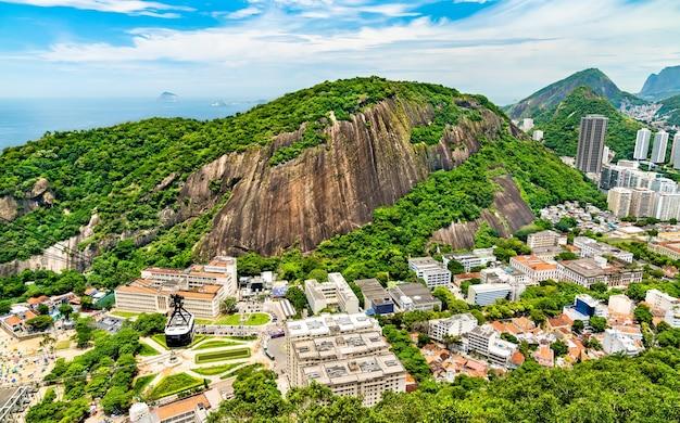 Aerial view of urca neighborhood in rio de janeiro