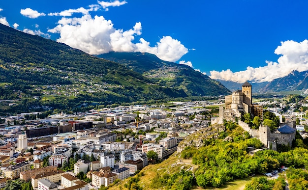 Aerial view of the valere basilica in sion - the canton of valais, switzerland