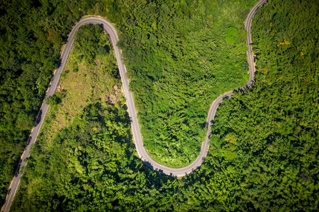 Aerial view valley road in thailand