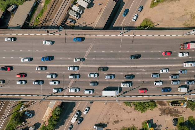 Aerial view of the vehicular intersection traffic at peak hour