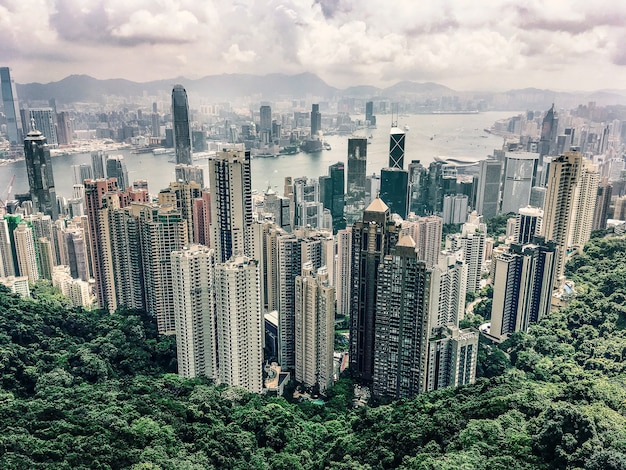 Aerial view of the victoria peak hill in hong kong under the cloudy sky