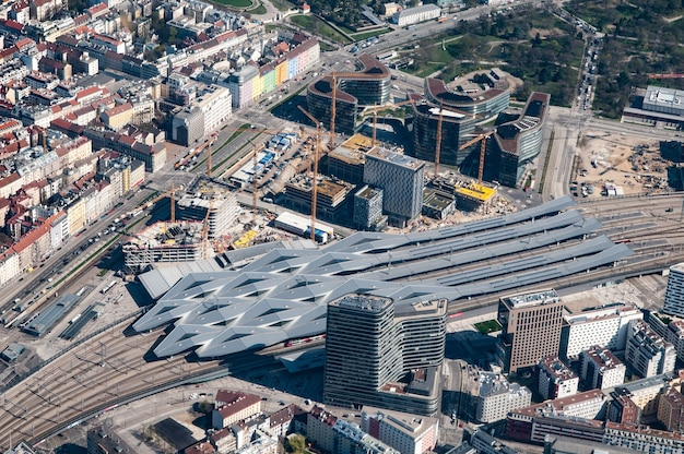 Aerial view of vienna railway station, vienna, austria