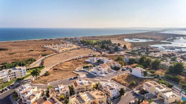 Aerial view of the village of alvor, in the summer, in southern portugal, algarve