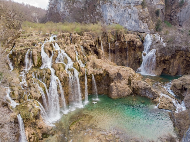 Aerial view of waterfall at plitvice lakes national park