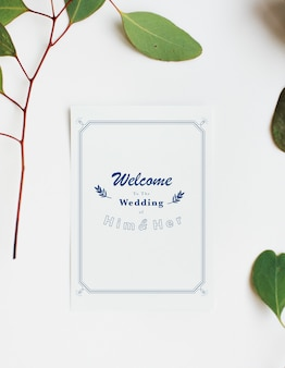 Aerial view of wedding invitation card